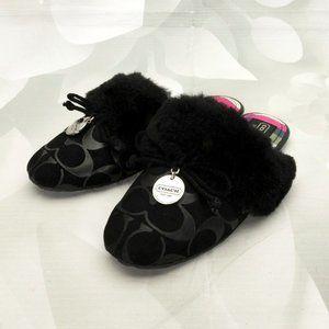 Coach Carra Designer Faux Fur Logo Slippers Shoes